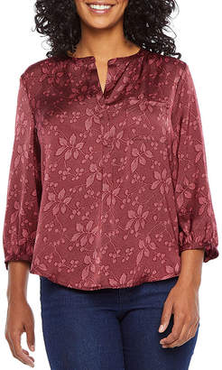 Liz Claiborne Petite Womens Split Crew Neck 3/4 Sleeve Blouse