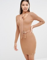 Lipsy Michelle Keegan Loves Button Up Sweater Dress With Neck Tie