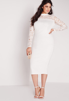 Missguided Plus Size Scuba Lace Midi Dress White