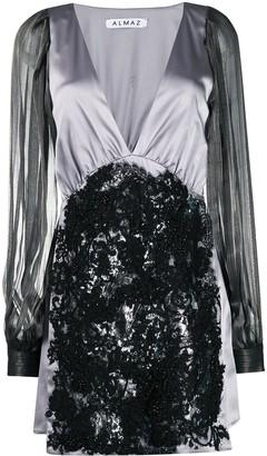 V-neck applique lace silk dress