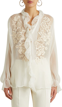 Etro Sheer Floral-Embroidered Ruffle Blouse