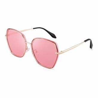 JIM HALO Oversized Polarized Sunglasses for Women Polygon Designer Shades UV400 (Pink Gold Frame/Ploarized Pink Lens)
