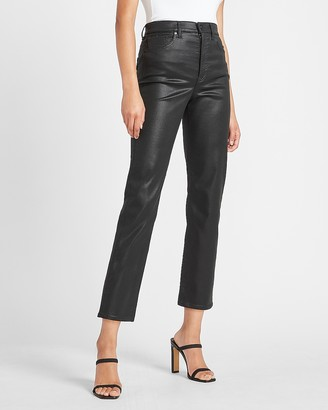 Express Super High Waisted Black Coated Straight Jeans