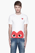 Comme des Garcons White Red Logo and applique peek-a-boo T-Shirt