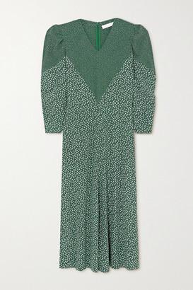 See by Chloe Paneled Printed Crepe Maxi Dress - Green