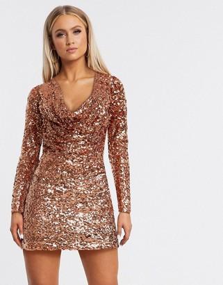 ASOS DESIGN sequin embellished cowl shift dress