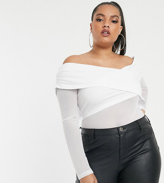 Asos DESIGN Curve bardot cross over body with mesh sleeve in white