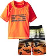 iXtreme Little Boys Shark Short Sleeve 2-Piece Rashguard Swim Trunk Set
