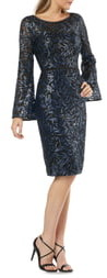 Carmen Marc Valvo Sequin Long Bell Sleeve Sheath Dress