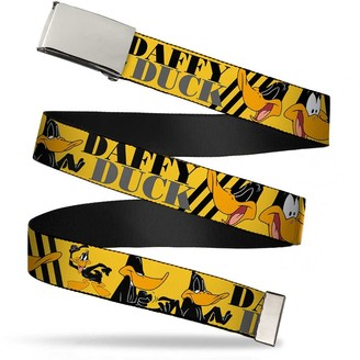 """Buckle Down Buckle-Down Unisex-Adult's Web Belt Daffy Duck w/Poses Yellow/Black 1.25"""" Wide-Fits up to 42"""" Pant Size"""