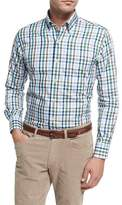Peter Millar Crown Trail Check Sport Shirt, Green
