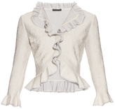 Alexander McQueen Lace-effect knit ruffled cardigan