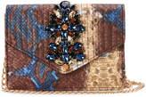 Sondra Roberts Embellished Snakeskin Crossbody Clutch