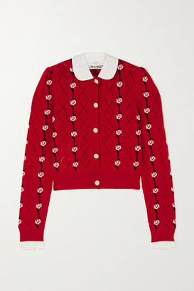 Miu Miu Cotton-trimmed Cashmere-jacquard Cardigan - Red