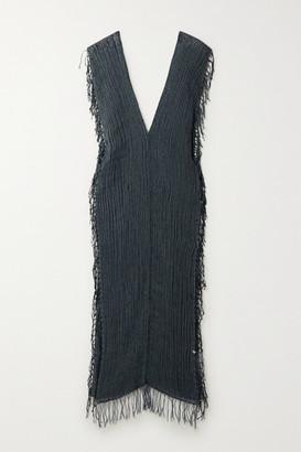 CARAVANA Tuunich Fringed Cotton-gauze Maxi Dress - Emerald