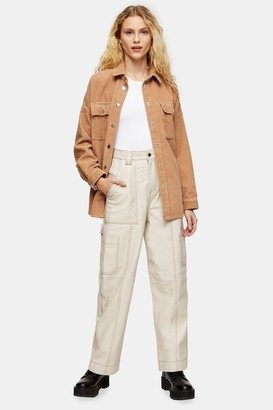 Topshop Womens Cream Real Leather Wide Leg Trousers - Cream