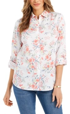 Charter Club Printed Roll-Sleeve Button-Front Linen-Blend Shirt, Created for Macy's