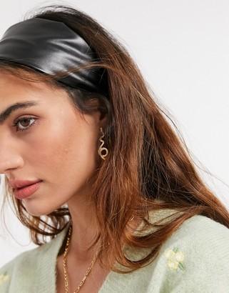 ASOS DESIGN wide headband in black PU