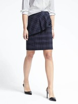 Banana Republic Plaid Asymmetrical Peplum Skirt