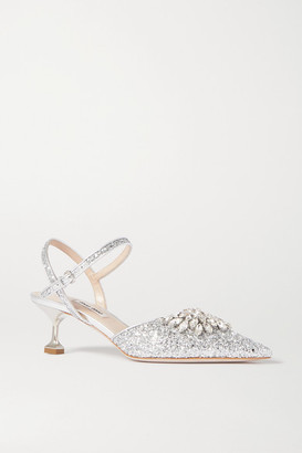 Miu Miu Crystal-embellished Glittered Leather Slingback Pumps - Silver