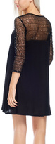 Bellino Black Mesh Sequin Three-Quarter Sleeve Dress
