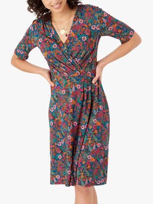 Brora Liberty Floral Jersey Wrap Dress, Magenta Garden