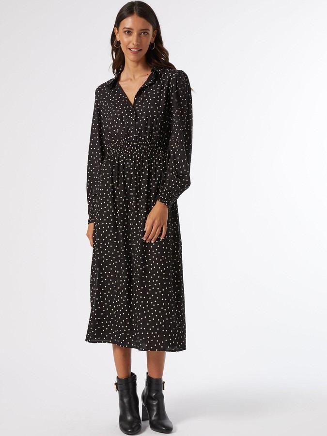 Thumbnail for your product : Dorothy Perkins Long Sleeve Spot Shirred Waist Shirt Dress - Black