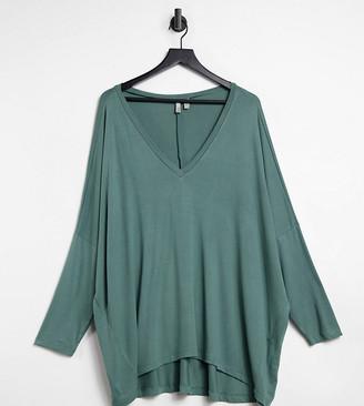 ASOS DESIGN Curve oversized v neck batwing sleeve top in drapey rib in khaki