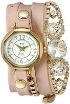 La Mer Women's Quartz Gold-Tone and Leather Automatic Watch, Color:Beige (Model: LMDELCRY3502)