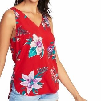 Toamen Women's Tops Toamen Summer Vest T-Shirt Sale Women V-Neck Floral Printed Sleeveless Side Split Irregular Tank Tops Blouse (Red 16)