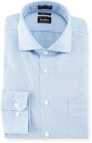 Neiman Marcus Trim-Fit Non-Iron Dobby Dress Shirt, Blue