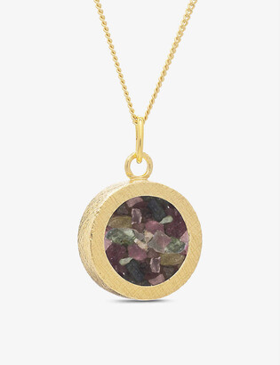 Rachel Jackson Birthstone Amulet October tourmaline and 22ct gold-plated sterling silver necklace