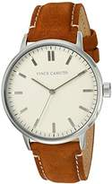 Vince Camuto Women's VC/5309CRHY Silver-Tone and Honey Colored Suede Leather Strap Watch