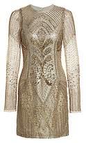 Burnett New York Women's Embroidered Sheer-Sleeve Silk Cocktail Dress