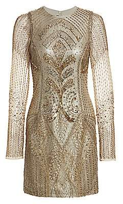 Burnett New York Women's Embroidered Sheer-Sleeve Silk Cocktail Dress