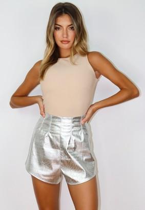Missguided Silver Metallic Croc Super High Waisted Shorts