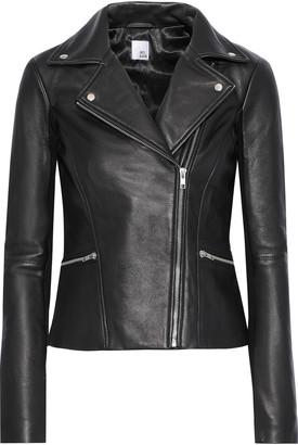 Iris & Ink Lovisa Ribbed Knit-paneled Leather Biker Jacket