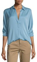 Vince Long-Sleeve Split-Neck Silk-Blend Blouse