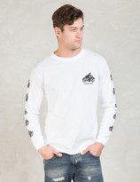 HOMBRE Nino White Motorcycle Print L/S T-shirt