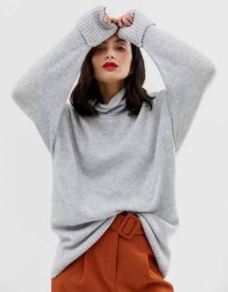 Asos Design DESIGN eco chunky jumper in oversize with high neck-Grey