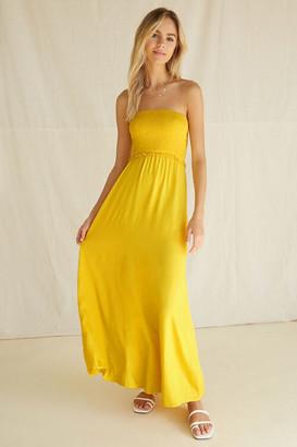 Forever 21 Strapless Smocked-Bodice Maxi Dress