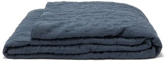 Once Milano - Dot-stitched Linen Quilt - Dark Blue