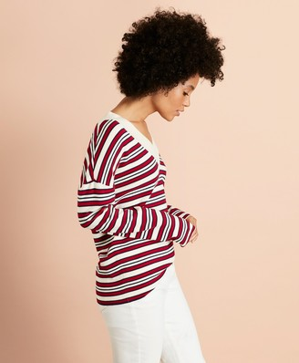Brooks Brothers Striped V-Neck Oversized Sweater