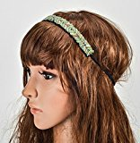 Women's Handmade Beaded Elastic Headband Simple Hair Accessories (Blue)