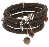 American West As IsAmerican West Brown Leather & Sterling Charm Coil Bracelet