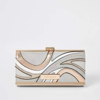 River Island Grey swirl cutabout cliptop purse