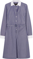 Vanessa Seward Daisy Belted Pinstriped Cotton-poplin Dress - Navy