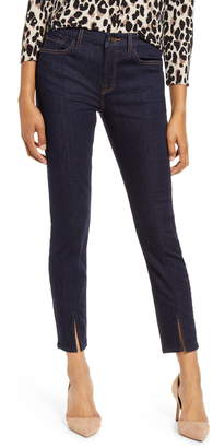 7 For All Mankind JEN7 by High Waist Front Seam Slit Hem Ankle Skinny Jeans