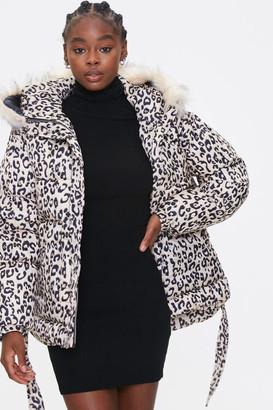 Forever 21 Leopard Print Puffer Jacket