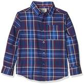 Original Penguin Boy's Y/D Twill Plaid with Slub Long Sleeve Shirt